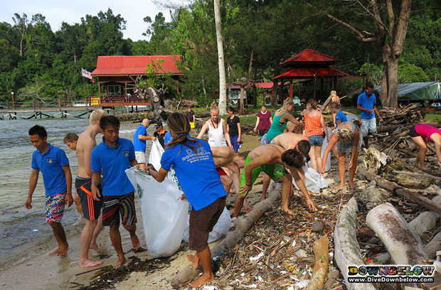 european cleaning beach asia borneo