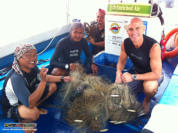 illegal ghost net, net removal dive, conservation efforts, marine protection, marine debris, padi instructor trainer, padi platinum course director, padi divemaster, professional diving internship, go pro education, professional diver