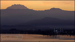 Mt. Kinabalu at sunset as seen from Kota Kinabalu