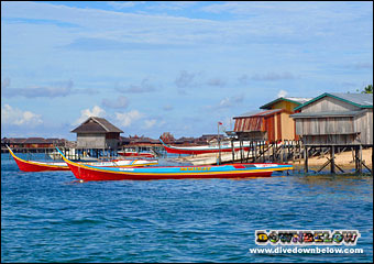 Boats moored at Mabul Island