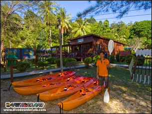Downbelow's Sea Kayaks ready for action at our Gaya Island Dive & Adventure Centre