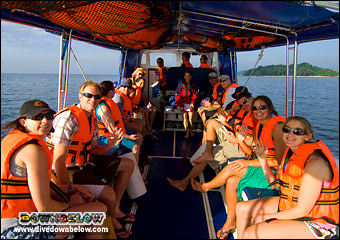 Happy Divers, Snorkelers and Explorers arrive at Pulau Tiga - Survivor Island